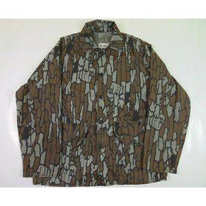 Vintage Ocoee Men M Camouflage Button Shirt Hunting Tree Bark Brown USA Camo 90s
